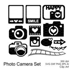 Photo Camera Set (svg, dxf, eps, ai, png) Journal Cards, Overlays,... ❤ liked on Polyvore featuring home, home decor and stationery