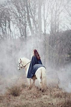 Lady in woods on a white horse in misty fog. Guinevra