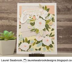 I still love using this paper pack, the white roses just make my heart happy :) It is the Hello Lovely collection by CTMH. Happy Tuesday, Close To My Heart, White Roses, I Card, Paper, Design, Design Comics