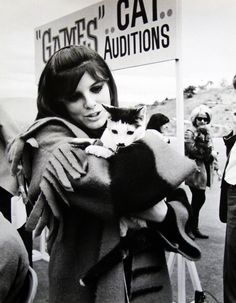 Katharine Ross with kitty, late 60's.