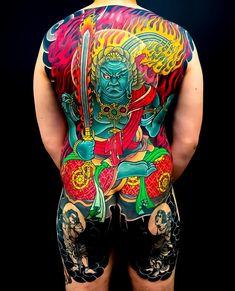 Japanese back tattoo by Japanese Back Tattoo, Japanese Sleeve Tattoos, Full Back Tattoos, Full Body Tattoo, Mens Body Tattoos, Body Art Tattoos, Blackwork, Traditional Japanese Tattoos, Japanese Style