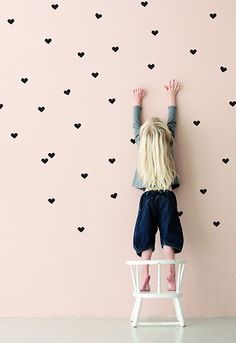 Heart wall decals.I like the idea of the pale pink wall, not too overbearing and still pretty.