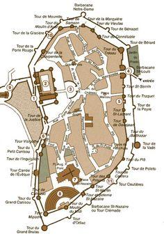 plan de la cité de Carcassone -fortress on the edge of the veil, but which edge?