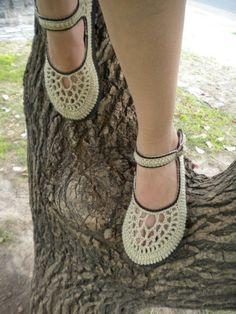 Beige & Chocolate Crochet Mary Janes