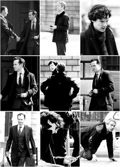 Sherlock & Co, 4/14/2013. CAN WE JUST. How many of these are in character? And why in the entire world is Moriarty WEARING SHERLOCK'S COAT. <--- NOOOOOOOOOOOOOOOOOOOOOOOOOOOOOOOOOOOOOOOOOOOOO! THIS IS VERY NOT OKAY AND I DON'T KNOW WHY!!!