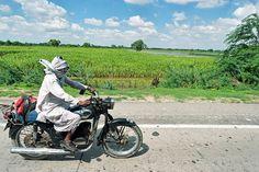 A villager riding bike.