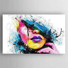 Pintada a mano Retratos Abstractos Vertical,Modern Un Panel Lienzos Pintura al óleo pintada a colgar For Decoración hogareña 4545027 2017 – $160.100