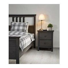 IKEA - HEMNES, Bed frame, Lönset, , Adjustable bed sides allow you to use mattresses of different thicknesses.Made of solid wood, which is a durable and warm natural material. #AdjustableBeds
