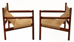 Pair of Roxinho wood leather sling chairs by Michel Arnoult image 3