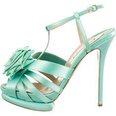 Pre-owned Nicholas Kirkwood Sandals ($425) ❤ liked on Polyvore featuring shoes, sandals, green, pre owned shoes, platform sandals, rose shoes, ankle strap platform shoes and nicholas kirkwood sandals