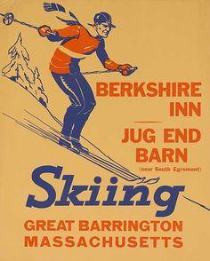 1940s Berkshire Inn, Massachusets Skiing vintage travel sport poster