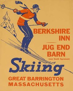 1940s Berkshire Inn, Massachusets Skiing vintage travel sport poster