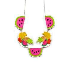 Fruit Statement Necklace, Watermelon Necklace, Pineapple Bannana Neon Charm Necklace - Boo and Boo Factory - Handmade Leather Jewelry