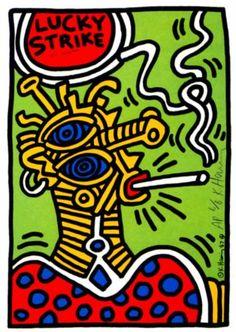 Lucky Strike Keith Haring Date: 1987 Style: Pop Art Genre: advertisement Norman Rockwell, Keith Haring Oeuvres, Jm Basquiat, Keith Allen, Keith Haring Art, Kenny Scharf, Tv Movie, Art Walk, Arte Pop