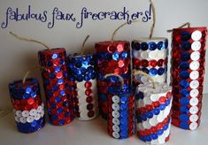 sequin firecrackers made with paper towel holders, wrapping paper holders and can cut to size! Cute!