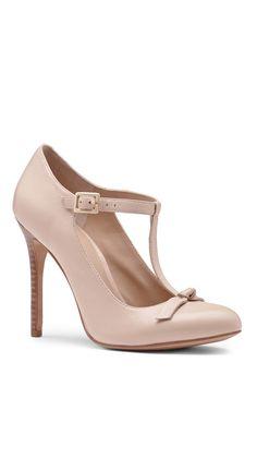 Nude T strap heels