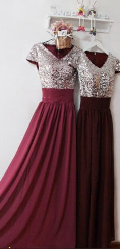 Burgundy Prom Dress,Sexy Prom Evening Formal Dress,Sequin Burgundy Bridesmaid Dress,Elegant Modest Prom Dress,Spark Evening Dress,Prom Dress