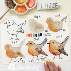 """Drawing Tutorial amazing doodle bullet journal - Want to learn how to doodle in your bullet journal? These 50 doodle doodle """"how-to""""'s to make doodles in your bujo easy and simple to draw Watercolour Tutorials, Watercolor Techniques, Art Techniques, Watercolor Illustration Tutorial, Watercolor Bird, Watercolor Paintings, Watercolors, How To Watercolor, Step By Step Watercolor"""