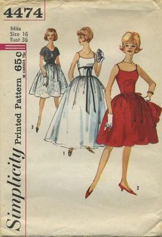 Vintage Sewing Pattern | Simplicity 4474 | Year 196? | Bust 36 | Waist 28 | Hip 38