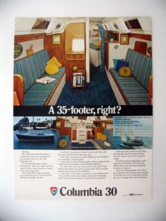 Columbia 30 Yacht Sailboat Cabin Interior View 1973 Print Ad (blue and yellow)