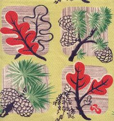 Vintage 1930's-40's leaves and pinecones barkcloth