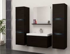 Bathroom Furniture Luna 4 Pieces Free Delivery Pay Cash On Delivery in Little Island, Cork from Furnitech Bad Set, Modern Vanity, Modern Bathroom, Led Lampe, Black Mirror, Bathroom Furniture, Powder Room, Double Vanity, Home Remedies