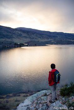 horsetooth hiking trail lake mountains foothills adventure lifestyle man sunset overlook