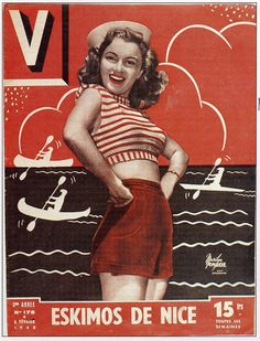 Norma Jeane/Marilyn Monroe on the cover of V magazine, February 1948, France.