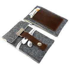 New version of the popular iPhone case comes with a brown leather pocket for a couple of credit cards and some cash. It is made with classic and