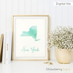 New York map printable Housewarming gift State by StrawberrySigns