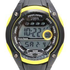 DW441C cronógrafo Luz Fecha Resistente al agua señoras de las mujeres amarillo Reloj Digital