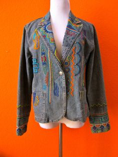 Funky Stylish Vintage 1980's Embroidered Boho Hippie Southwestern Ethnic Denim Jean Jacket Coat Blazer Size Medium