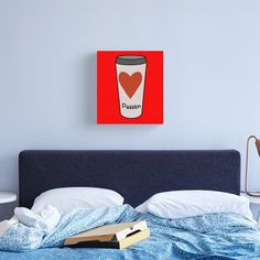 """""""Love Coffee With A Passion -White Travel Mug Coffee Design"""" Canvas Print by Pultzar   Redbubble"""