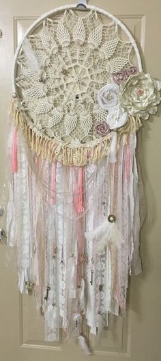 Shabby Chic Bohemian Dream Catcher Handmade x Large Beach Boho Cottage Fringe 5' | eBay