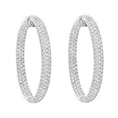 Large Oval Shaped Pavé Diamond Hoop Earrings In White Gold Total Carats Of Round Brilliant Cut Diamonds Set Three Rows To The Front Inside And Outside