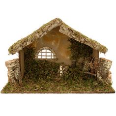 Hand Crafted Wooden Stable With Carved Roof Nativity