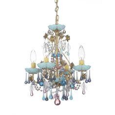 The Rose Heirloom Gold Four-Light Mint Julep Vintage Crystal Chandelier, 13W x 15H x 13D