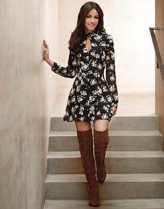 Lipsy Love Michelle Keegan Floral Print Cutout Dress