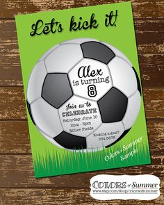 Soccer Invitation, Soccer Ball Invitation, Soccer Invite, Birthday Invitation, Let's Kick It, All Star, Neon, Sports - Custom Digital File