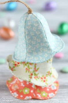 PDF Easter Bell Sewing Pattern & Tutorial, Fabric Easter Ornament Pattern, DIY Easter Tree Decoration, DIY Holiday Decoration, Nursery Decor - diy and joy Pdf Sewing Patterns, Sewing Tutorials, Sewing Crafts, Sewing Projects, Diy Crafts, Fabric Scrap Crafts, Fabric Gifts, Fabric Decor, Bead Crafts