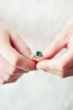 Emerald, Mint + Peach Wedding Inspiration - http://www.stylemepretty.com/2014/05/12/emerald-mint-peach-wedding-inspiration/