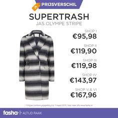 Dagelijks vindt Fasha grote prijsverschillen tussen webshops die hetzelfde artikel of dezelfde artikelen aanbieden voor verschillende prijzen. De prijsvergelijker van Fasha ontdekt deze verschillen en geeft de verschillende prijzen uit de aangesloten webshops weer bij hetzelfde artikel. Je hoeft dus niet langer meer zelf alle webshops te vergelijken, dit doet Fasha al voor jou!  Shop deze jas nu voor de bestehttp://www.fasha.nl/producten/supertrash/jas-olympe-stripe-grey-slash-white/20750240
