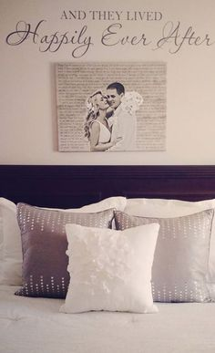 Custom Home Decor. Wedding photo printed on canvas with words in background , hung above bed - so romantic, great gift for spouse. Also makes a great second cotton anniversary gift.