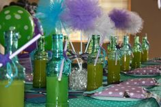 Cute Mermaid Party with glass bottles instead of the usual party paper cups