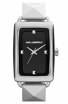 KARL LAGERFELD 'Kourbe' Rectangular Bracelet Watch, 28mm x 41mm available at Nordstrom
