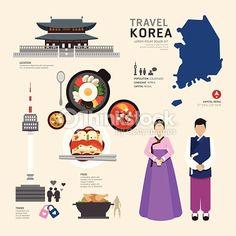 Illustration of Korea Flat Icons Design Travel Concept.Vector vector art, clipart and stock vectors. Flat Design Icons, Icon Design, Flat Icons, Design Plat, South Korea Travel, Learn Korean, Thinking Day, Korean Art, Korean Traditional
