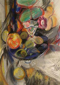 Богомолова Ольга. Натюрморт с фруктами. 2017. Пастель, 61х43