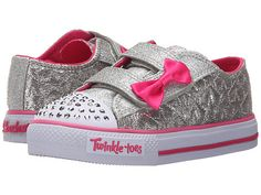 SKECHERS KIDS Twinkle Toes - Shuffles 10600N Lights (Toddler/Little Kid) Silver/Hot Pink - Zappos.com Free Shipping BOTH Ways