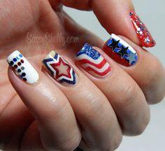 Sassy Shelly: Nails and Attitude: of July Nail Art. All Accent Nails! Star Nail Art, Star Nails, Nail Art Stripes, Striped Nails, Accent Nails, Hair And Nails, My Nails, Nail Art Designs, Nails Design