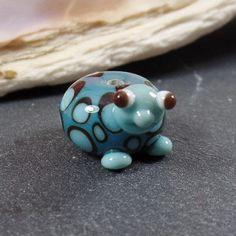 Lampwork Bead: Turtle Dark Turquoise  handmade by irenesKralen